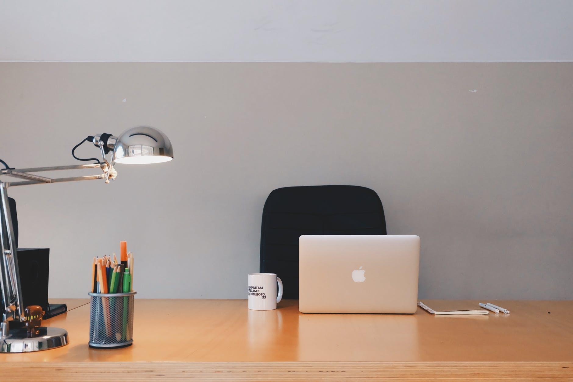 business chair coffee computer
